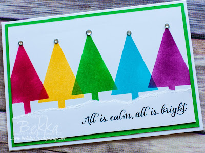 Rainbow Fast and Fabulous Christmas Card by Stampin' Up! UK Demonstrator Bekka Prideaux - check it out here