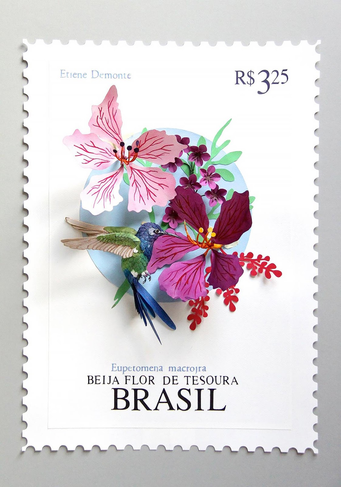paper sculpture, bright colors, birds, stamps, art
