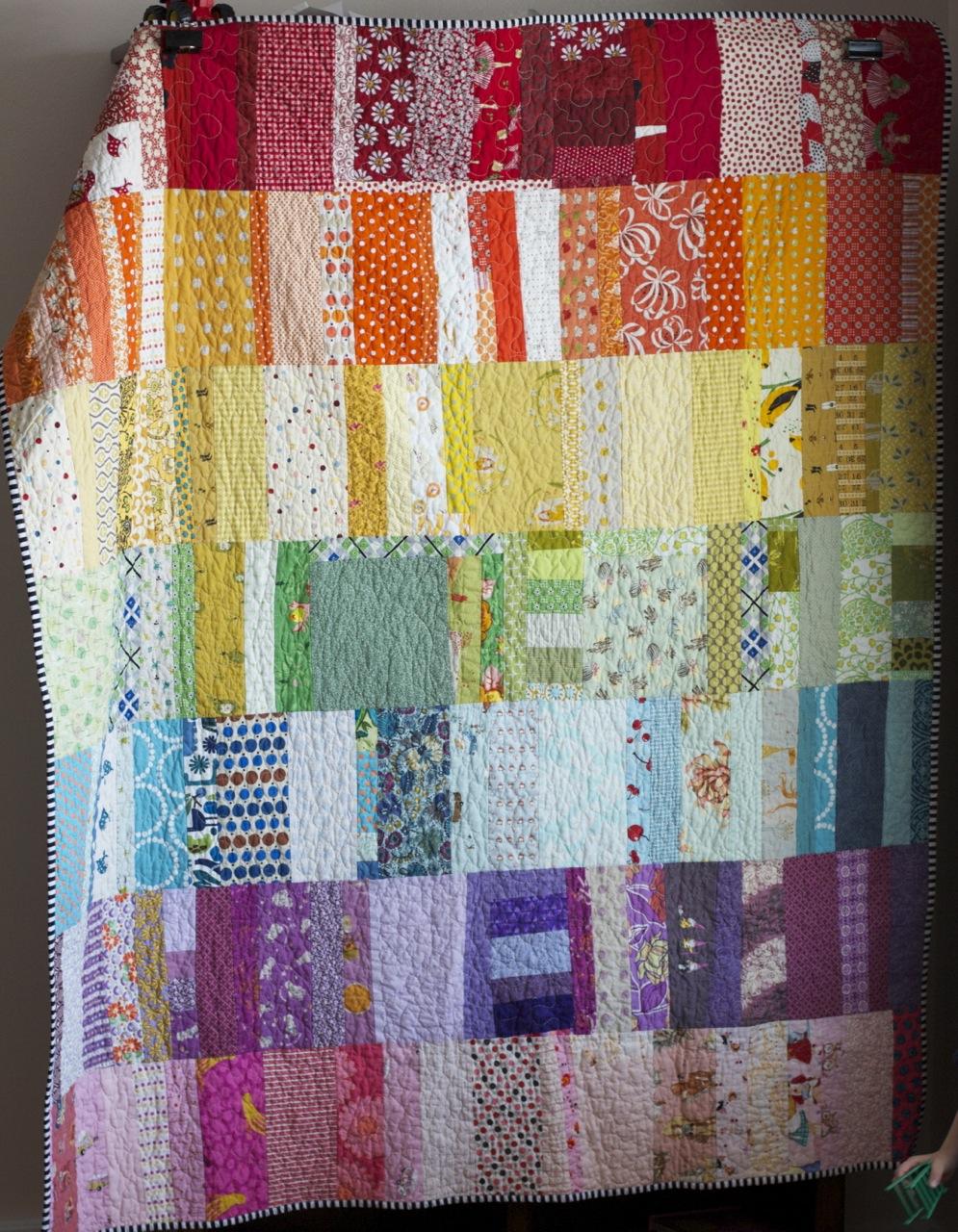 A quilt is nice rainbow scraps for Scrap quilt