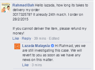 Komen Lazada mengenai Order saya