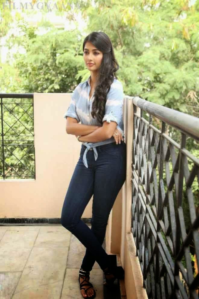 Pooja Hegde Hot Pics In Tshirt Denim Jeans