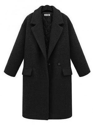 Women Red Lapel Coats Black Breasted Pocket Coat