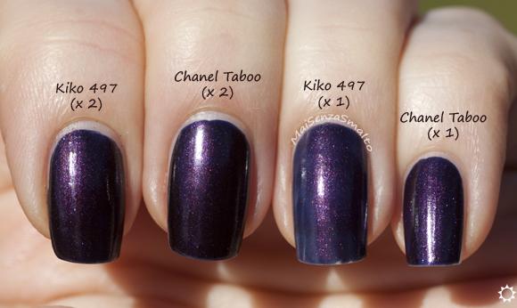 Kiko 497 vs Chanel Taboo