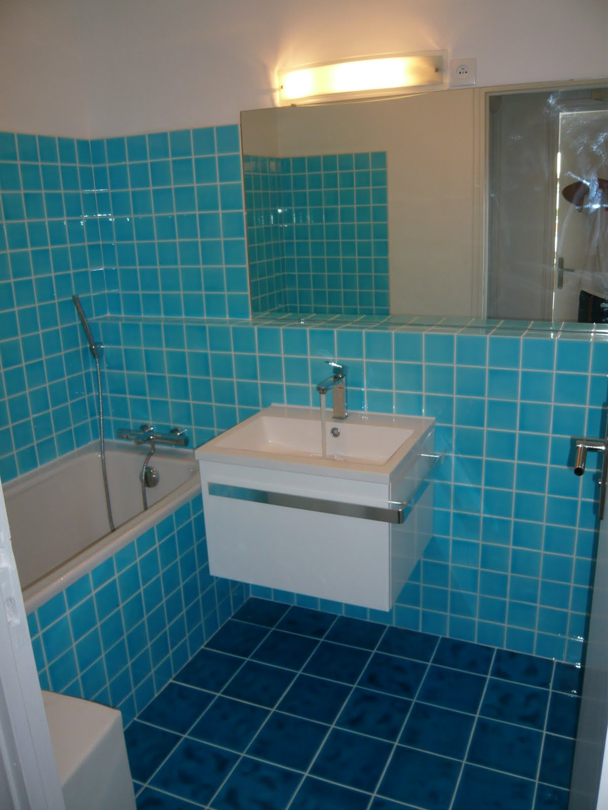 Immorenov idf r novation totale for Carrelage de salle de bain bleu