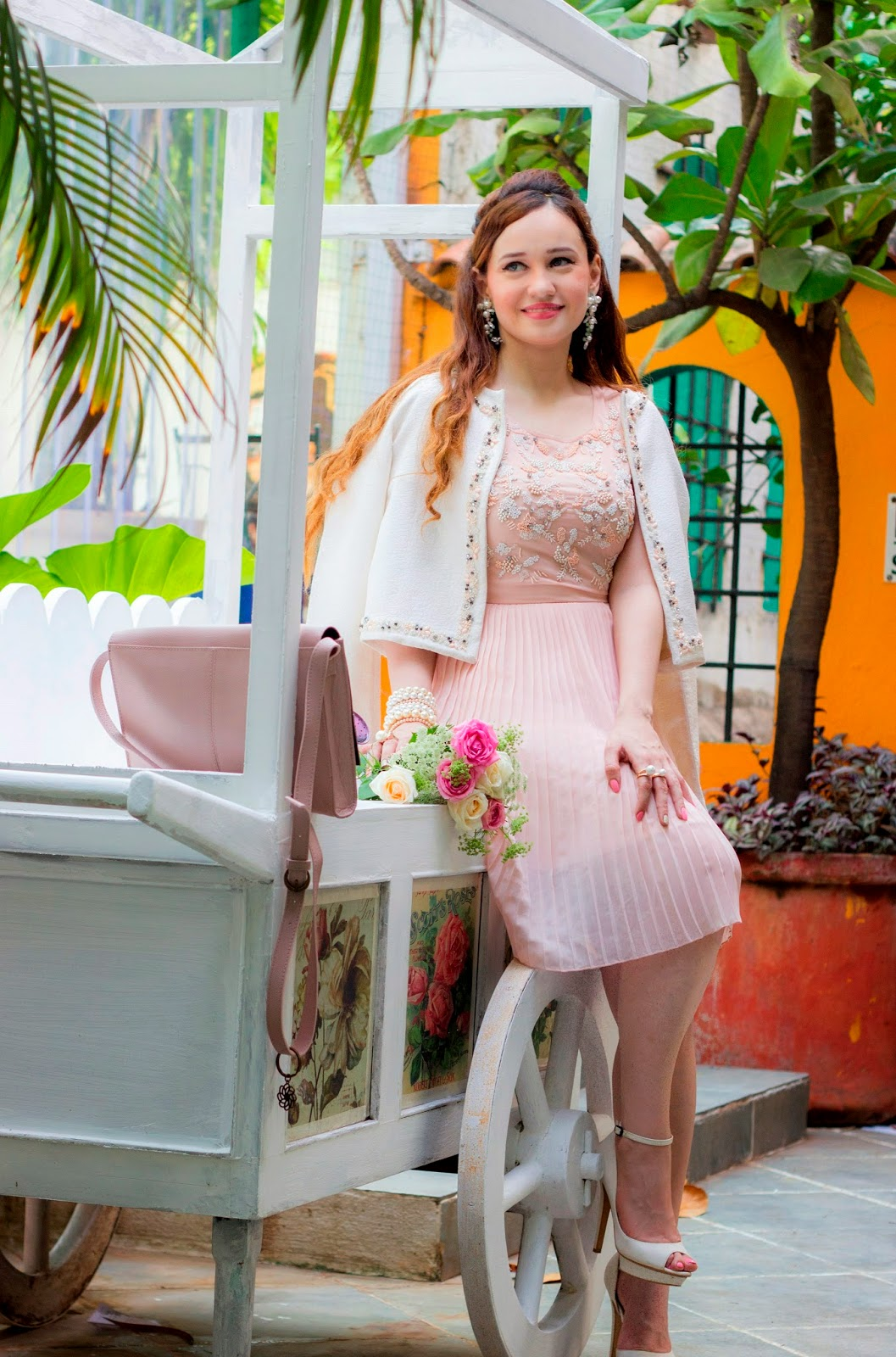 Vero Moda Marquee Powder Pink Dress & Ivory Jacket by Karan Johar