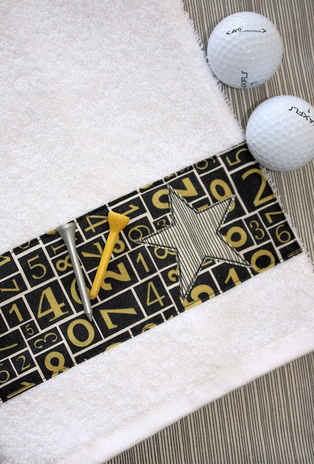Golf Towel {Tutorial} - A Spoonful of Sugar on golf coasters, golf sunglasses, golf cups, golf bedding, golf clothing, golf dishes, golf uniforms, golf food, golf hats, golf paper, golf license plate frames, golf accessories, golf games,