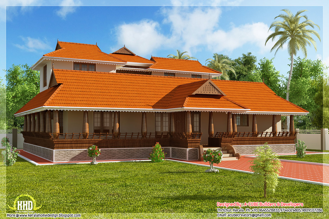 2231 Kerala Illam Model Traditional House Home