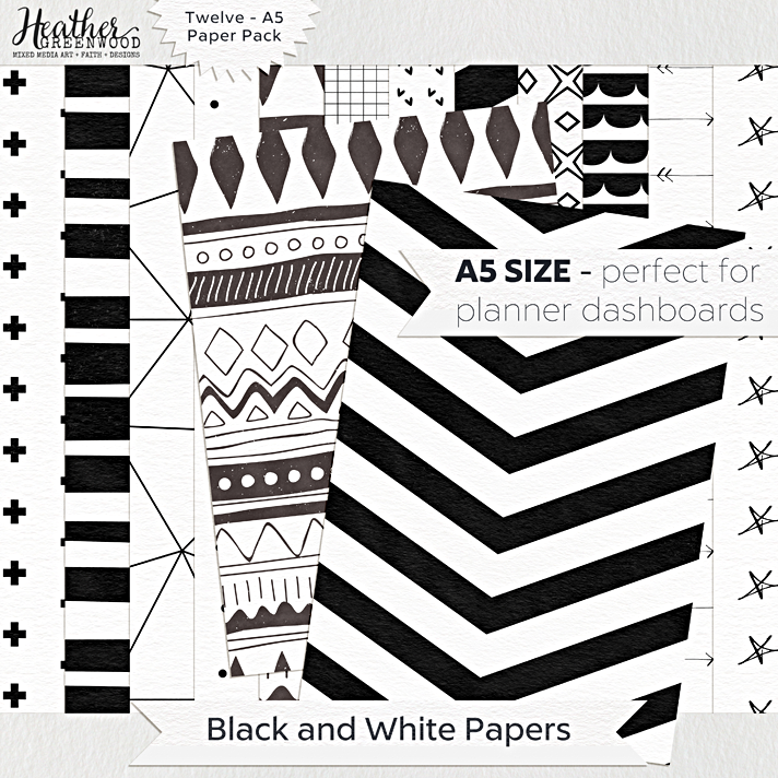 Black and White Geometric Digital Papers | A5 digital papers by Heather Greenwood Designs