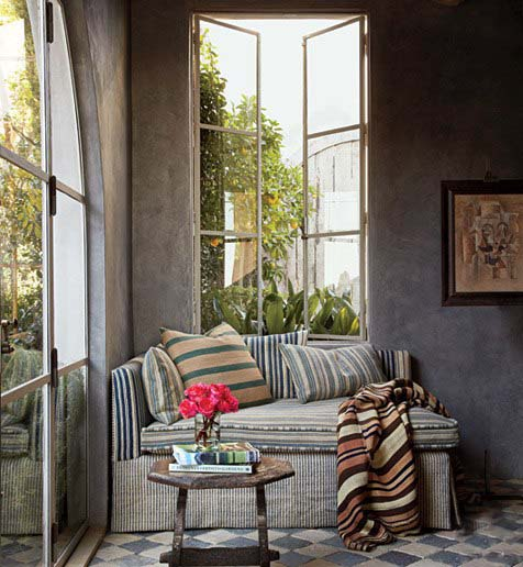 Mixed Stripe Lounge, Richard Shapiro residence, image via Architectural Digest, as seen on linenandlavender.net