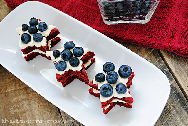 Easy Red Velvet Brownies that start from a cake mix. Star shaped cookie cutters help make a cute patriotic dessert.