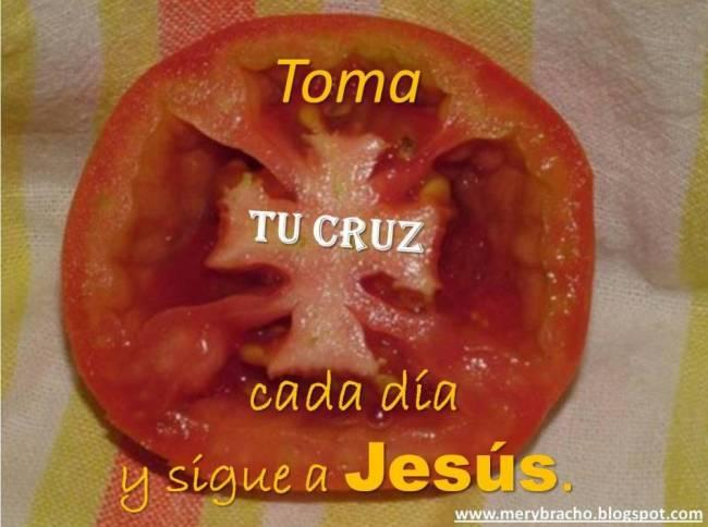Postal Sigue a Jesús. Si alguno quiere venir tome su cruz cada día y sígame. Postales cristianas. Fruta Tomate con cruz en medio. Creación de Dios. Me gusta el tomate, interesante cruz dentro de este.