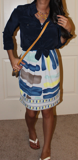 Petite ootd: BCBG dress, J Crew silk blouse, Tory Burch flip flops, Vintage Gucci purse