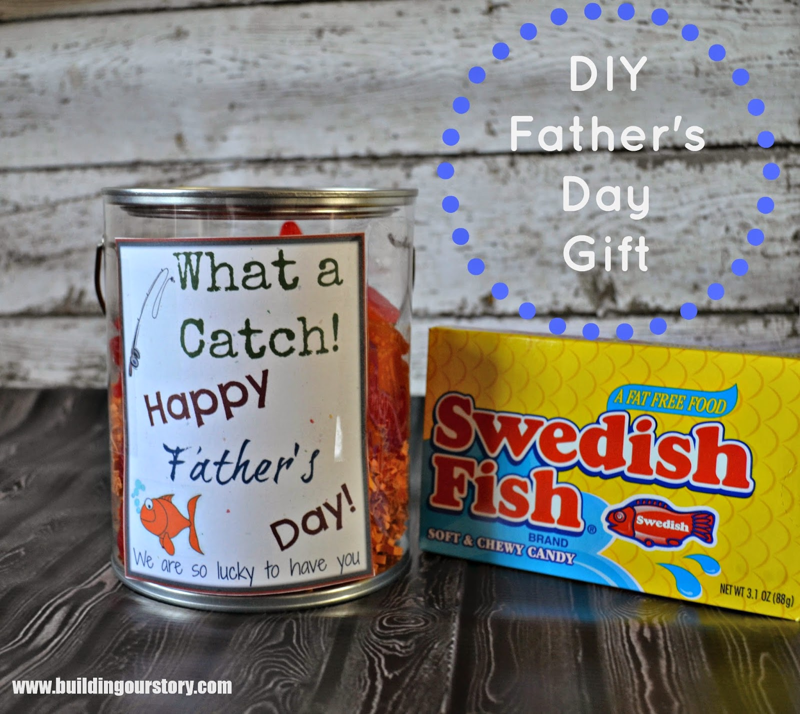 #DIY Father's Day Gift Idea and Free Printable.  What a Catch Father's Day gift.  DIY gifts for dad.
