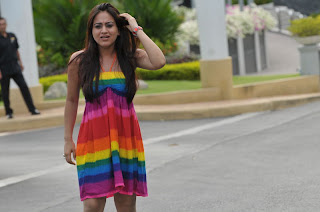 Aksha Latest Picture Gallery in Colourful Sleeveless Dress