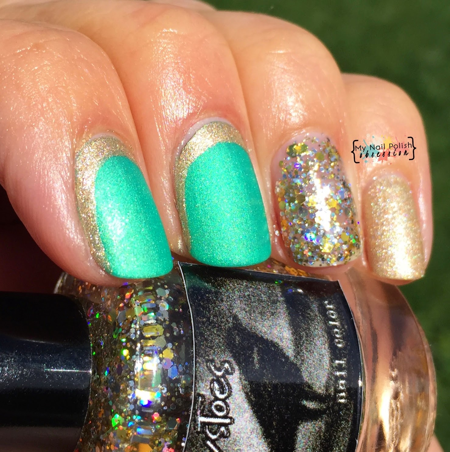 St. Patrick's Day Skittlette: Smitten Polish The Irish Rover, OPI Love Angel Music Baby, Crows Toes Maxxed Out