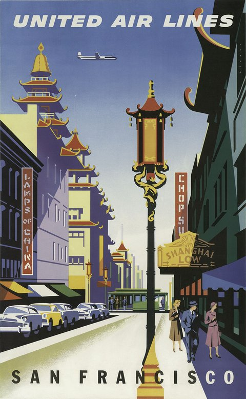 classic posters, free download, graphic design, retro prints, travel, travel posters, vintage, vintage posters, San Francisco United Air Lines - Vintage Travel Poster