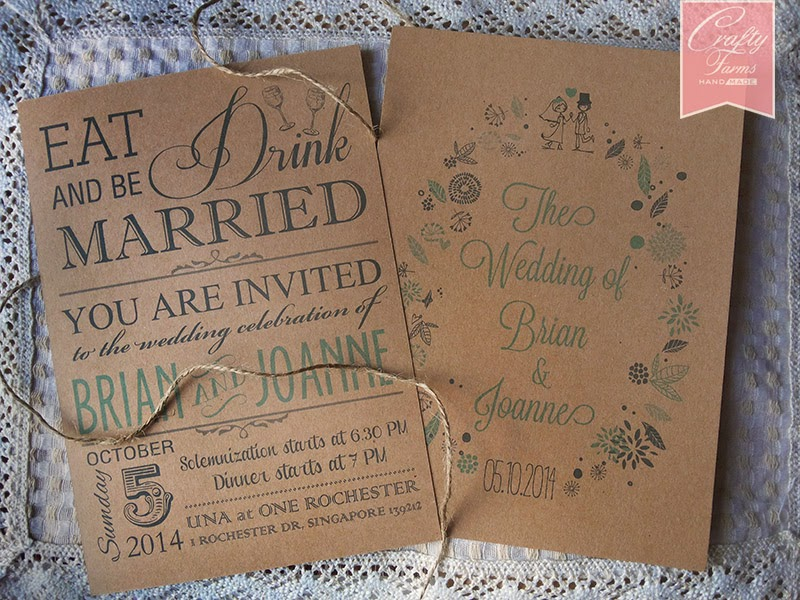 Blue Themed Rustic Typography Wedding Card