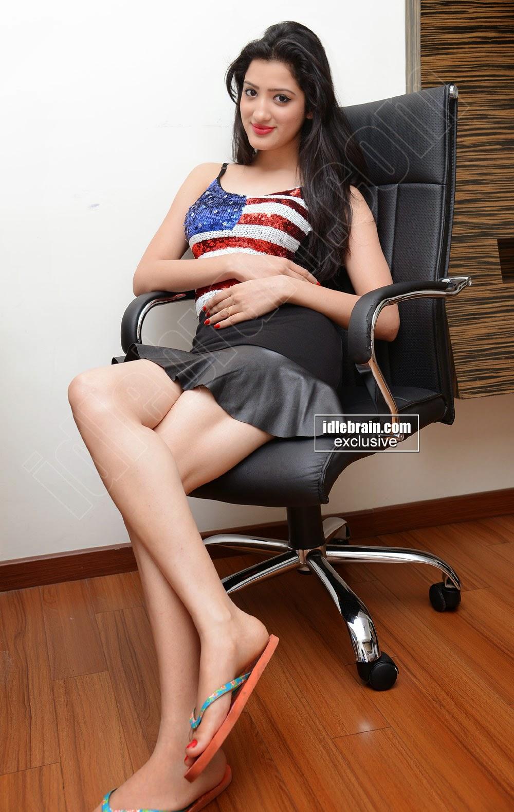 Richa Panai Milk White Beauty Babe In a Black Mini Skirt