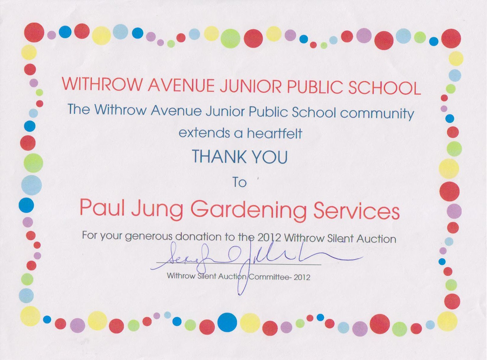 Thank You certificate from Withrow Ave. Jr. Public School 2012 Silent Auction Fundraiser