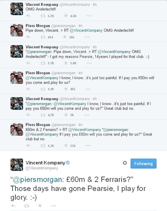 Piers Morgan attempts to lure Vincent Kompany to Arsenal on Twitter