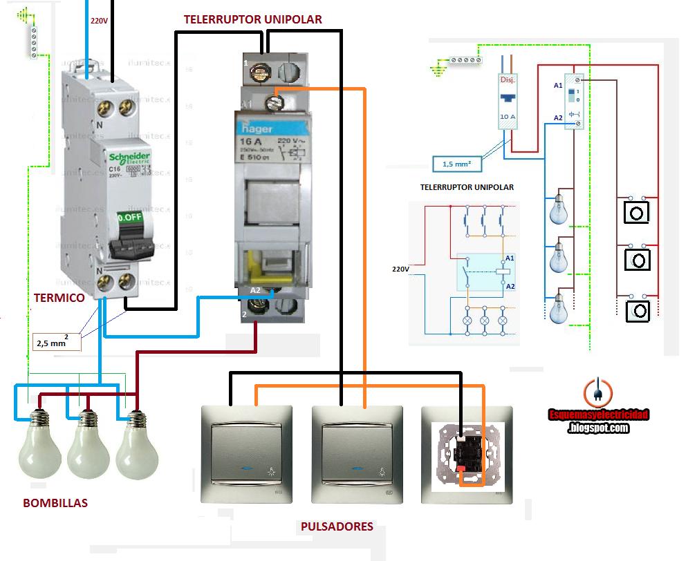 como conectar telerruptor unipolar
