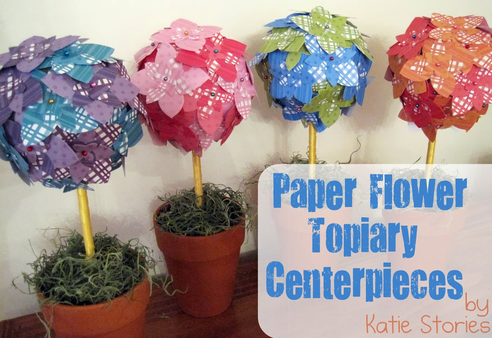 Katie stories scrapbook crafting blog paper flower topiary fortunately these are the easiest to put together mightylinksfo
