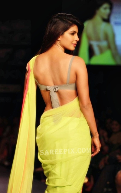 Priyanka chopra saree ramp walk at Lakme Fashion week 2013