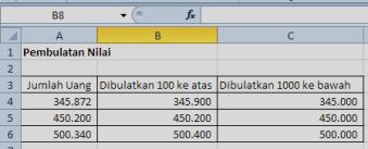 RUMUS Excel PEMBULATAN RATUSAN