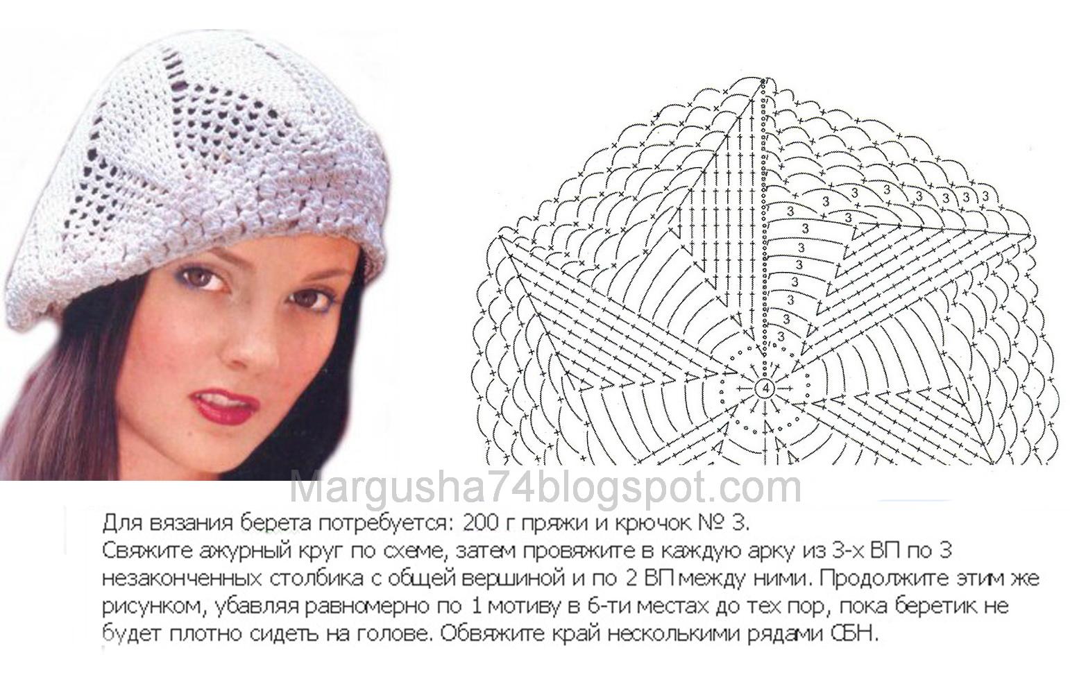 Фото и схемы вязания крючком ажурного берета