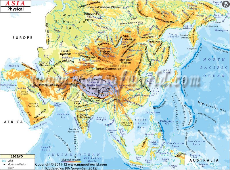 Geography Physical map of Asia