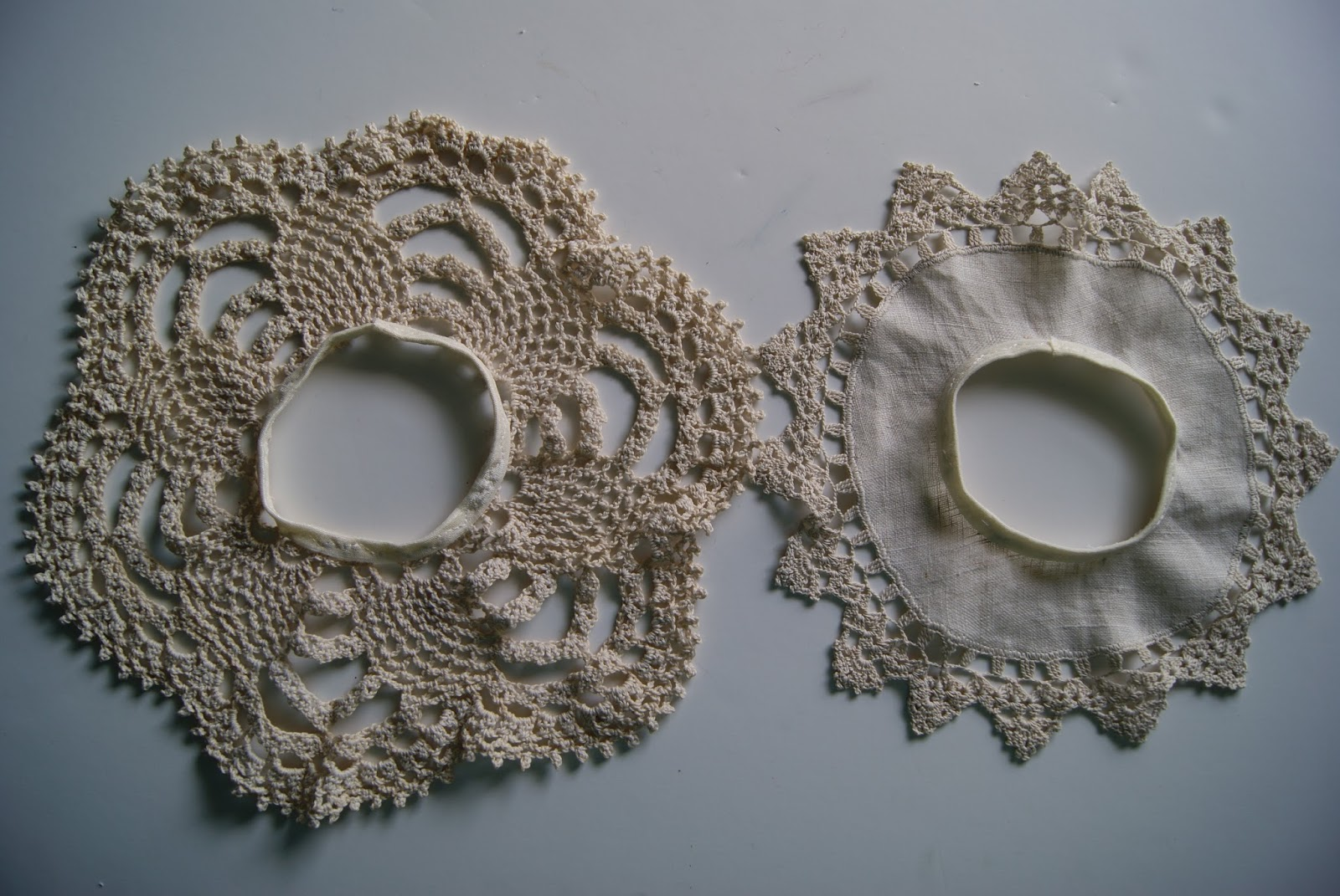 doily circle skirts for 18-inch doll by nest full of eggs