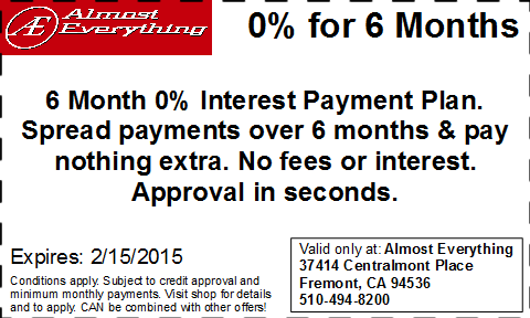 Coupon 6 Month Interest Free Payment Plan January 2015