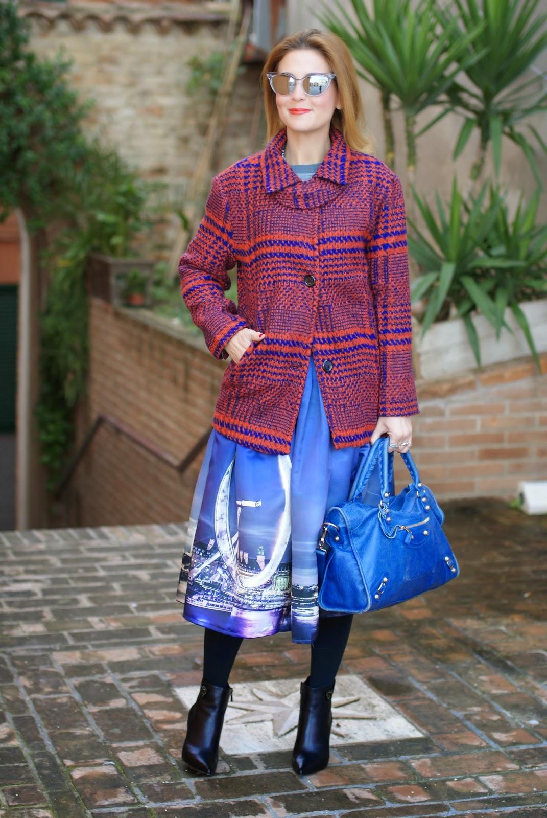 Chicwish London Skyline print, London Eye print midi skirt, Blackfive check coat, Le Silla shoes, Fashion and Cookies, fashion blogger