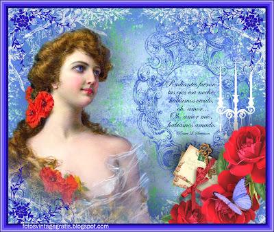 fondo vintage azul con dama victoriana y rosas rojas