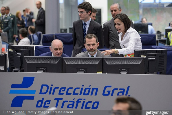 Spanish Interior Minister Jorge Fernandez Diaz, King Felipe VI of Spain and Directorate General of Traffic Director Maria Segui visit the Directorate General of Traffic