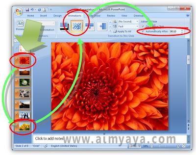 Gambar:  Cara mengatur animasi dan interval penayangan pada photo slideshow di microsoft powerpoint