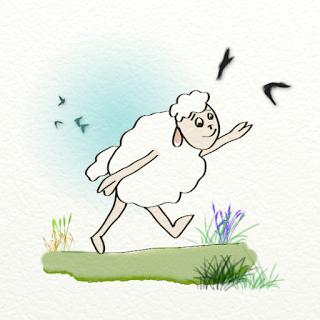 Un mouton qui court après les corbeaux : illustration numérique de l'auteur de livres pour enfants et illustratrice Florence Gobled