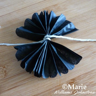 Black tissue fanned out to make a rosette