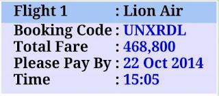 kode booking, harga tiket dan time limit pembayaran
