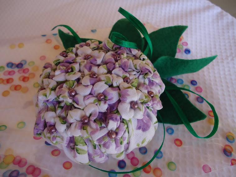 Sachê de fuxico - Flor hortênsia