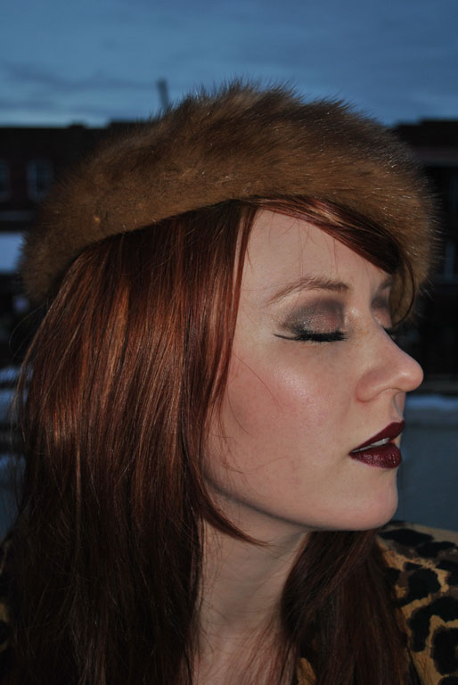 a style of your own blog, berry lips, fall makeup, winged eyeliner, fur hat, mollie booth parks
