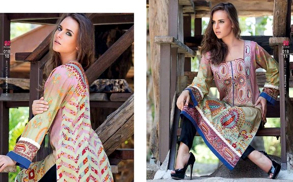 Zanisha Embroidered Kurti Summer Designs 2015 By Al Zohaib Textile