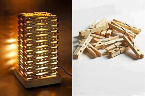 DIY, Candeeiro de Mesa feito com Molas da Roupa