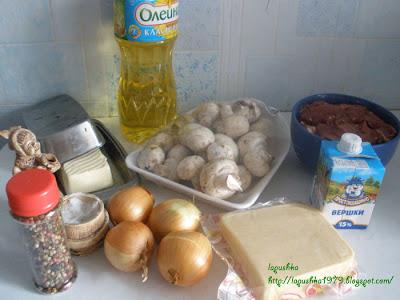 Запеканка из куриной печени с грибами