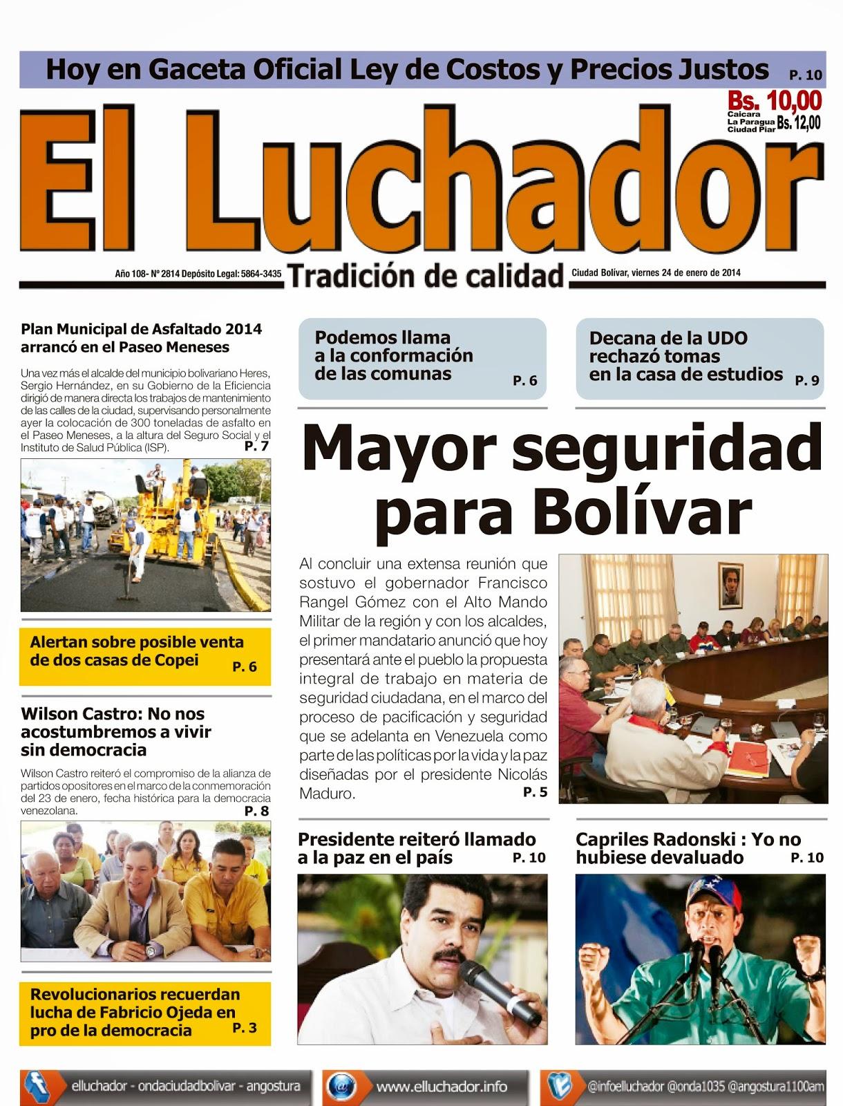 Primera Plana de este viernes 24 de enero de 2014: prensa regional
