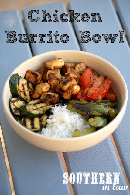 Healthy Rice and Chicken Burrito Bowl - Gluten free, low fat recipe