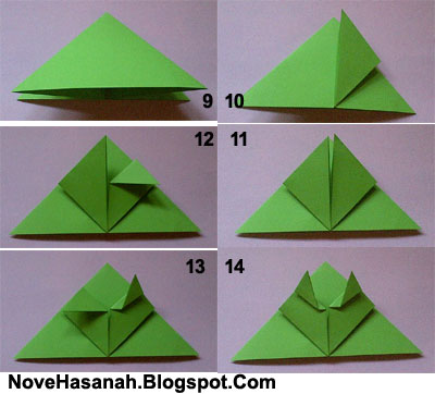 melipat kaki depan origami kodok loncat