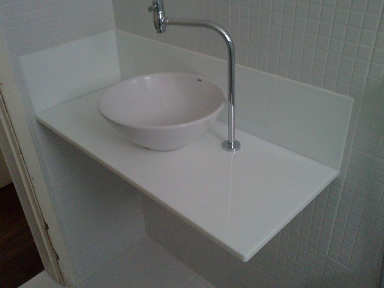 Pia de Banheiro em Nanoglass Cuba de Apoio! #5C626F 1600x1200 Banheiro Com Granito Azul