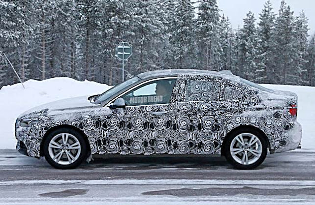 BMW 1 Series sedan spied testing in snow