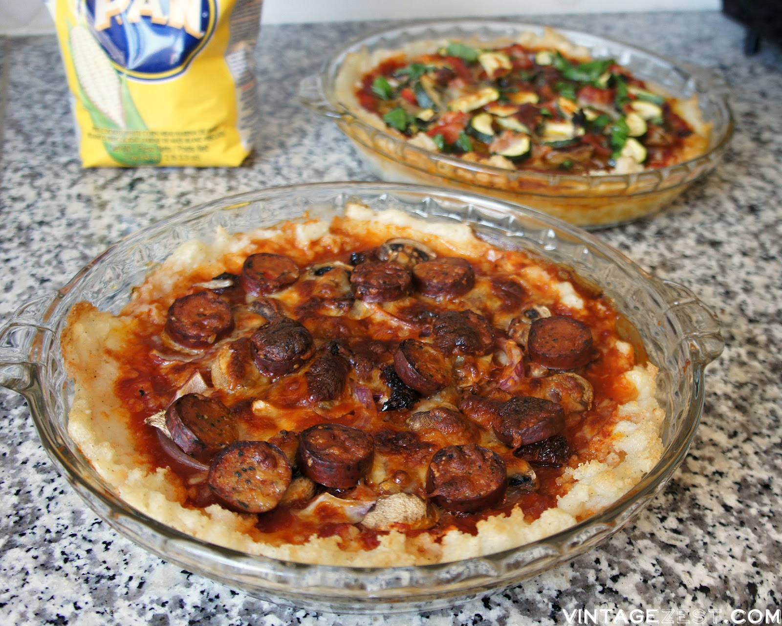 Sausage & Veggie Deep Dish Pizza Pies on Diane's Vintage Zest! (ad)  #PANfam #IC #recipe #glutenfree